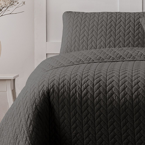 Ardor Boudoir Maya Quilted Quilt Cover Set charcoal