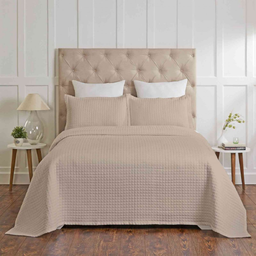 Madrid Cotton Quilted Coverlet Set by Renee Taylor- Khaki- Queen