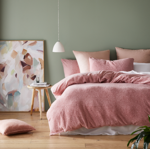 Teddy Sherpa Fleece Quilt Cover Sets Quilt Cover and Matching Pillowcases Blush Pink
