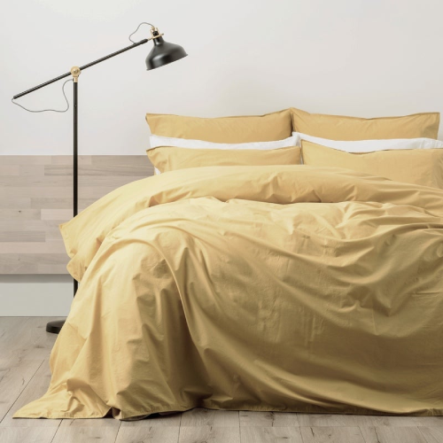 Renee Taylor Lorimer 300TC Stone Washed Cotton Quilt Cover Set Mustard